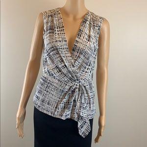 Prada ivory and black printed silk blouse NWT 42/6